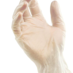 disposable glove on a hand